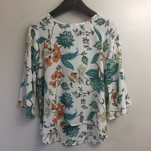 Papermoon Sheer Floral boho top blouse. Small